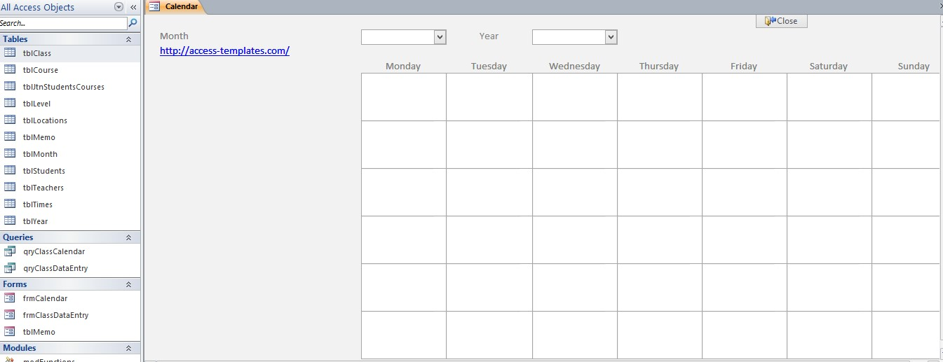 Microsoft Access Calendar Database Template – Microsoft Access